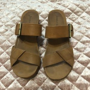 Chocolat Blu Tan Slip on Wedges with Buckle